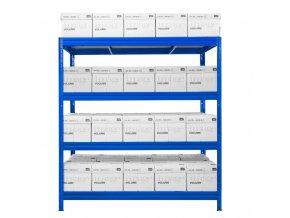 Kovový bezskrutkový regál HEAVY RACK, 177 x 160 x 60 cm, 600 kg / pol., 4 drevotrieskové police, modrá