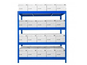 Kovový bezskrutkový regál HEAVY RACK, 177 x 160 x 60 cm, 600 kg / pol., 4 MDF police, modrá