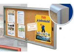 Interiérová jednostranná posuvná vitrína 750 x 1000 mm, hĺbka 60 mm - strieborne anodizovaná, korkový podklad