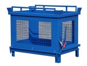 Kontajner s výklopným dnom, 1500 litrov, modrá, drôtené steny