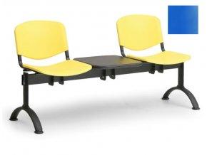 Lavica ISO, kov-plast modrý (dvojsedák-sa-stolíkom)