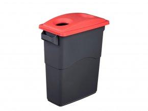 Nádoba na Triedenie odpadu 60 litrov + červené veko na plasty
