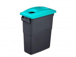 Nádoba na Triedenie odpadu 60 litrov + modrozelenej veko na sklo