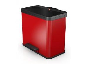 Odpadkový kôš Hailo na triedený odpad 3 × 9 litrov, červený lak