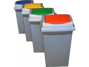 Odpadkový kôš na triedený odpad, 50 l, set 4 nádob