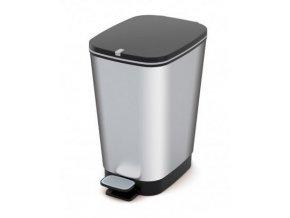 Odpadkový kôš nášľapný, dizajn strieborný, 35 l
