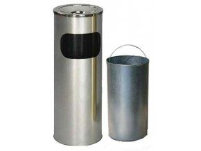 Odpadkový kôš nerezový s popolníkom s vnutorna nádobou, matný