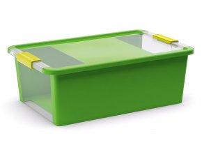 Plastový úložný box s vekom na klip, 26l, zelená
