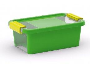 Plastový úložný box s vekom na klip, 3 l, zelená