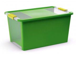 Plastový úložný box s vekom na klip, 40 l, zelená