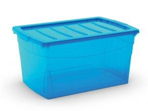 Plastový úložný box s vekom na klip, priehľadný, modrá, 50 l
