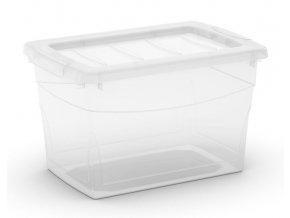 Plastový úložný box s vekom na klip, priehľadný, transparentné, 16 l