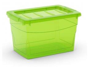 Plastový úložný box s vekom na klip, priehľadný, zelená, 16 l