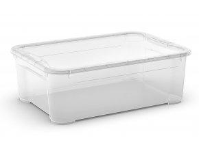 Plastový úložný box s vekom, priehľadný, 31 litra