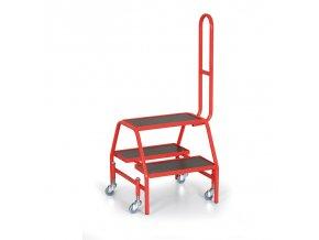 Pojazdné schodíky obojstranné, 4 kolesá
