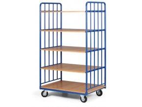 Policový vozík vysoký, dve strany profilov, päť etáží z drevotriesky, 300 kg