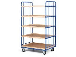 Policový vozík vysoký, dve strany profilov, päť poschodí z ohranenej drevotriesky, 400 kg