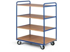 Policový vozík vysoký, štyri poschodia z drevotriesky, 400 kg, kolesá 200 mm