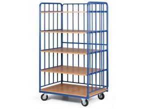 Policový vozík vysoký, tri strany profilov, päť etáží z drevotriesky, 300 kg