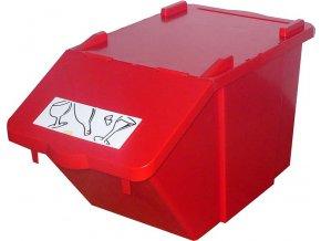 Stohovateľný nádoba na triedený odpad - červená