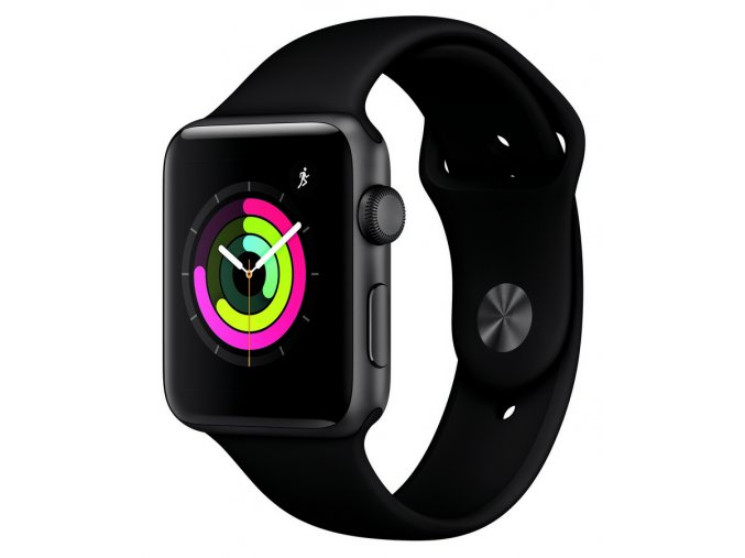 Apple Watch S3 Ves Šedé 42mm Černý Sport Řemínek