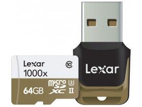 Lexar 64GB microSDXC UHS-II 1000x + USB Class 10