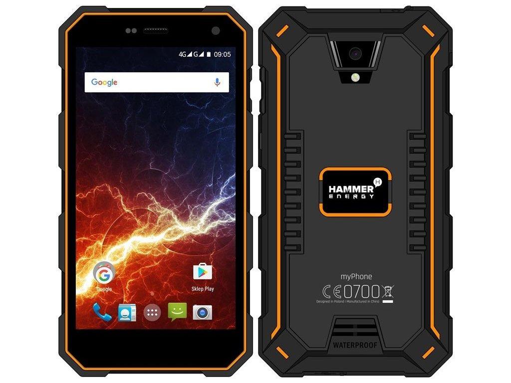 myPhone HAMMER ENERGY LTE 2GB/16GB černá/oranžová  PŘEDVÁDĚCÍ TELEFON CZ DISTRIBUCE