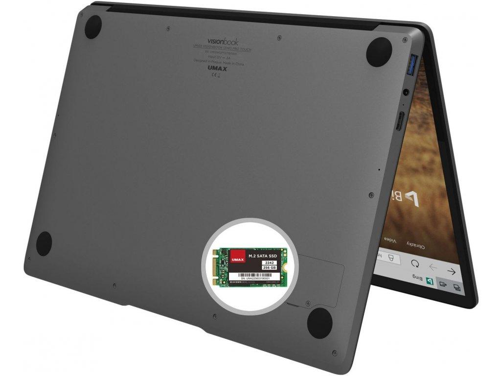 """Umax VisionBook 13Wg Pro Touch šedá  Dotykový 13.3"""" Full HD IPS   64GB   INTEL DUAL"""