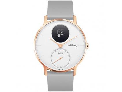 Chytré hodinky Withings Steel HR (36 mm) Rose Gold šedá  CZ DISTRIBUCE