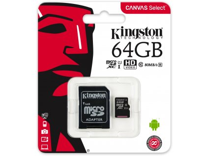 Kingston Micro SDXC Canvas Select 64GB 80MB/s UHS-I + SD adaptér