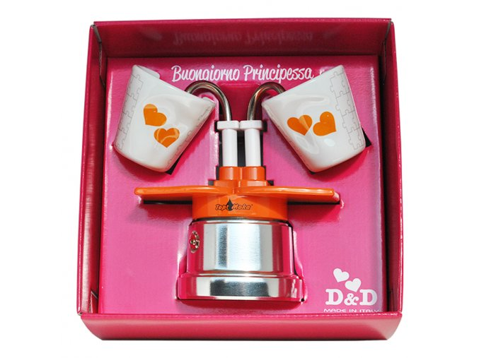 caffettiera you e me arancione 2 tazze in confezione principessa
