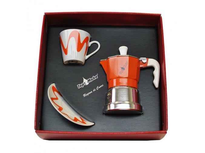 confezione caffettiera top moka top 1 tazza arancione