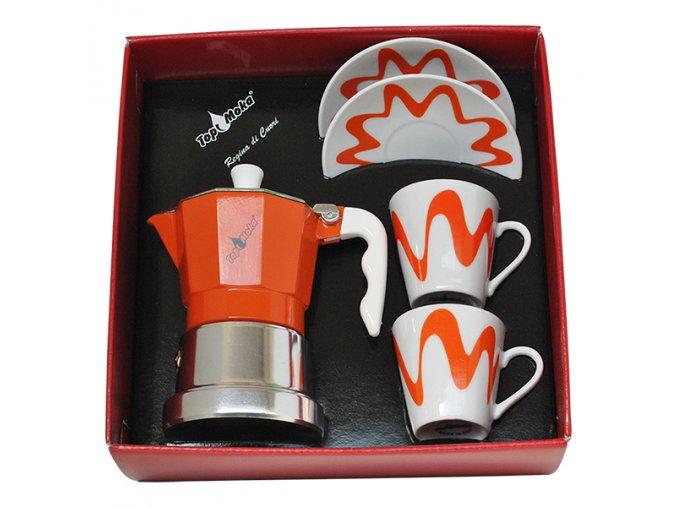 confezione caffettiera top moka top 2 tazze arancione