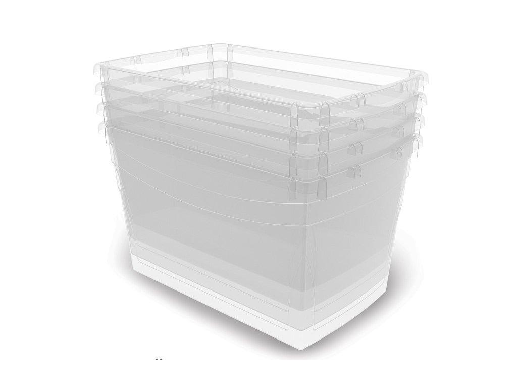 736e87acd Plastový úložný box s víkem na klip, průhledný, modrá, 16 l ...