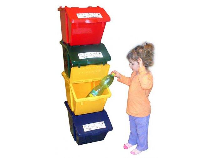 Stohovatelné nádoby na tříděný odpad - sestava 4 nádob