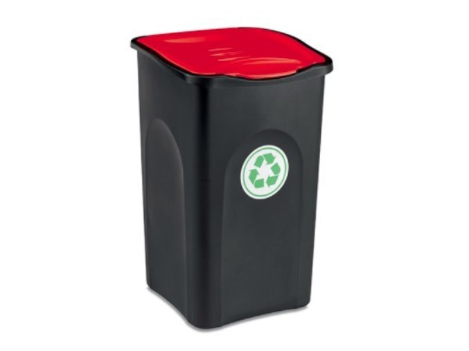 kos na trideni odpadu 50 litru ecogreen cervene viko