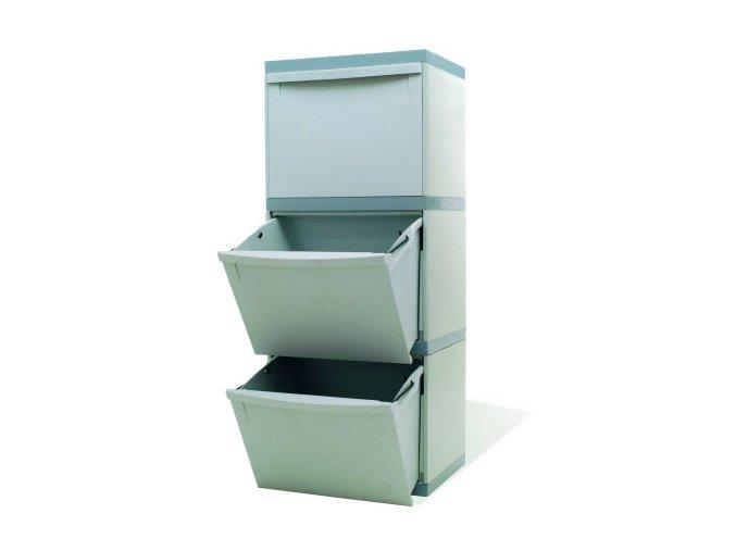 Odpadkový koš na tříděný odpad - 3 × 30 litrů