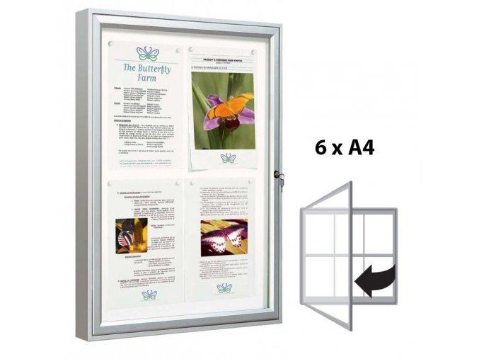 Venkovní vitrína 750 × 750 mm (bezpeč. sklo), hloubka 58 mm, 6xA4