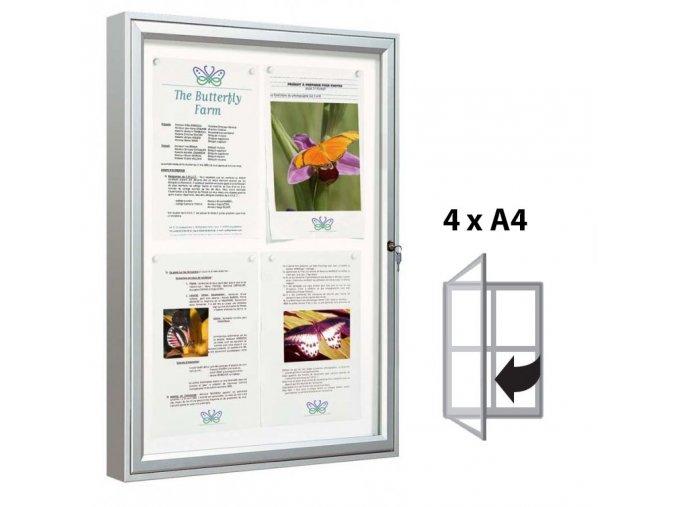 Venkovní vitrína 750 × 550 mm, (bezpeč. sklo) hloubka 58 mm, 4xA4