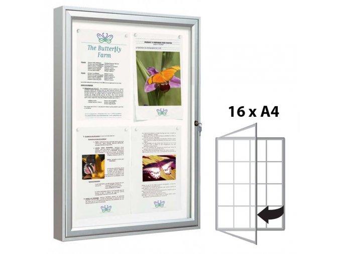 Venkovní vitrína 1350 × 1000 mm (bezpeč. sklo), hloubka 58 mm, 16xA4