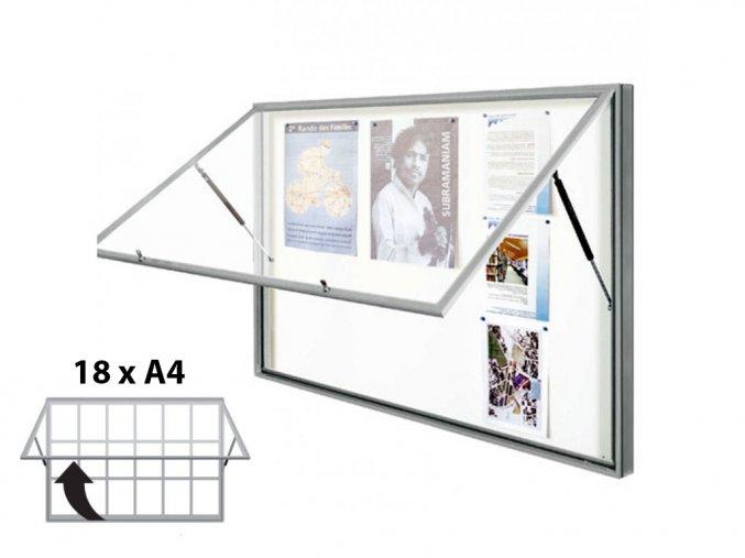 Venkovní vitrína 1080 × 1330 mm (bezpeč. sklo), hloubka 58 mm, 18xA4