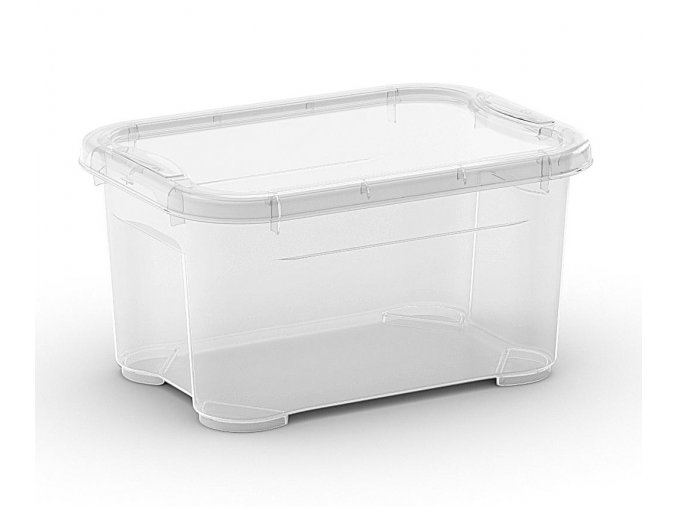 Plastový úložný box s víkem, průhledný, malý