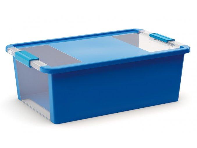 Plastový úložný box s víkem na klip, 26l, modrá