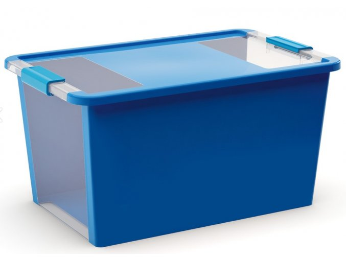 Plastový úložný box s víkem na klip, 40 l, modrá