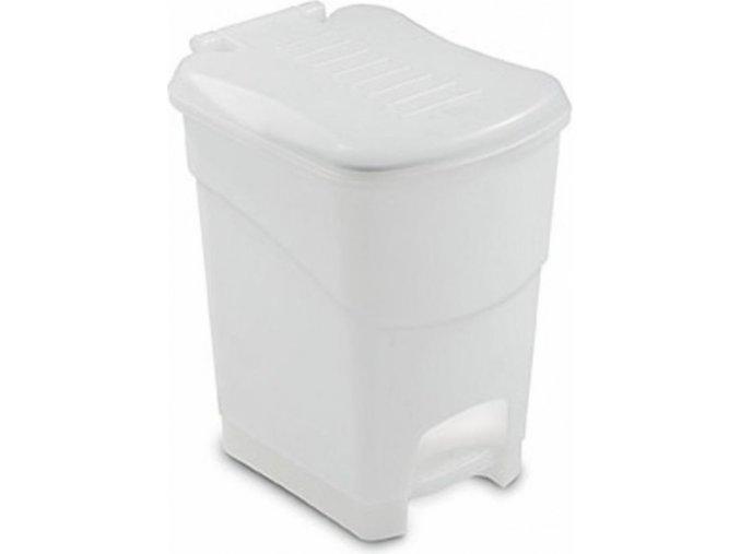 Odpadkový koš nášlapný, bílý, 20 litrů