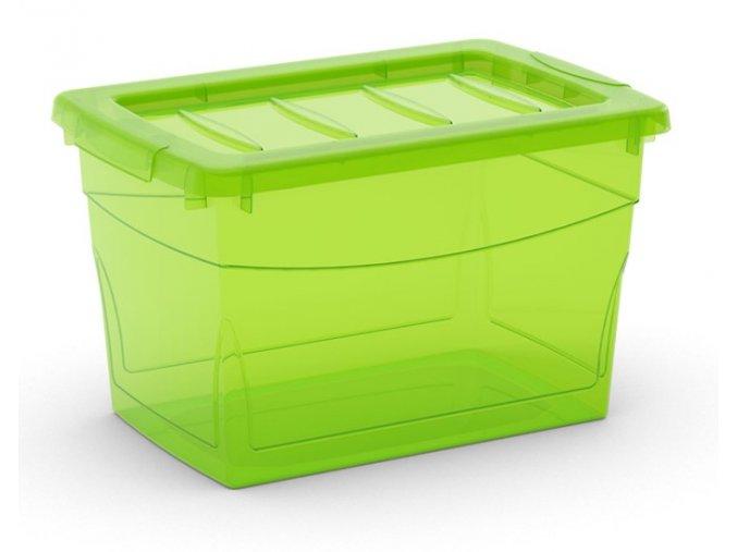 Plastový úložný box s víkem na klip, průhledný, zelená, 16 l