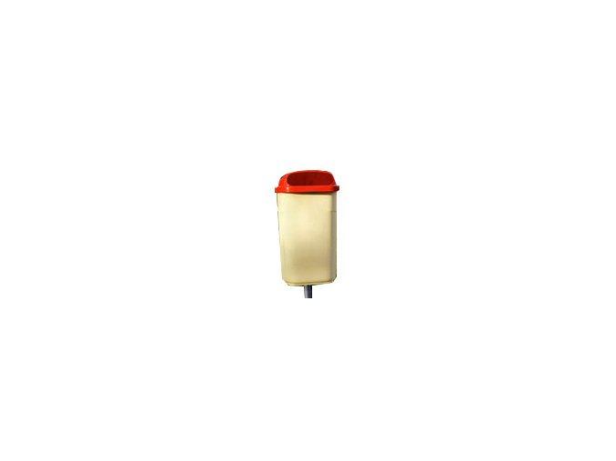 Odpadkový koš venkovní klasický 50 litrů, krémová - oranžová