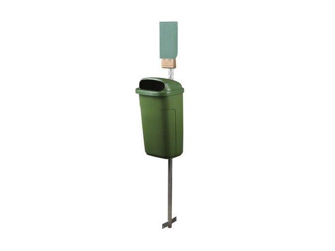 Odpadkový koš na psí exkrementy - SET, zelený