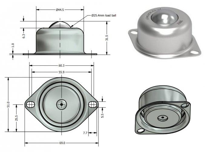 Kuličková kladka, příruba k desce, průměr 25,4 mm
