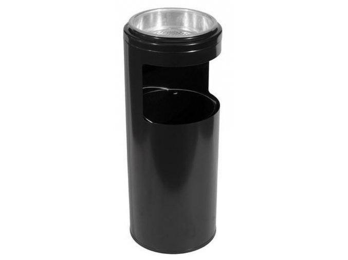 Odpadkový koš s popelníkem, černý, 10 litrů